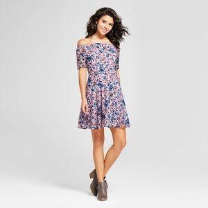 Off-the-shoulder Lace Lilac Floral Dress